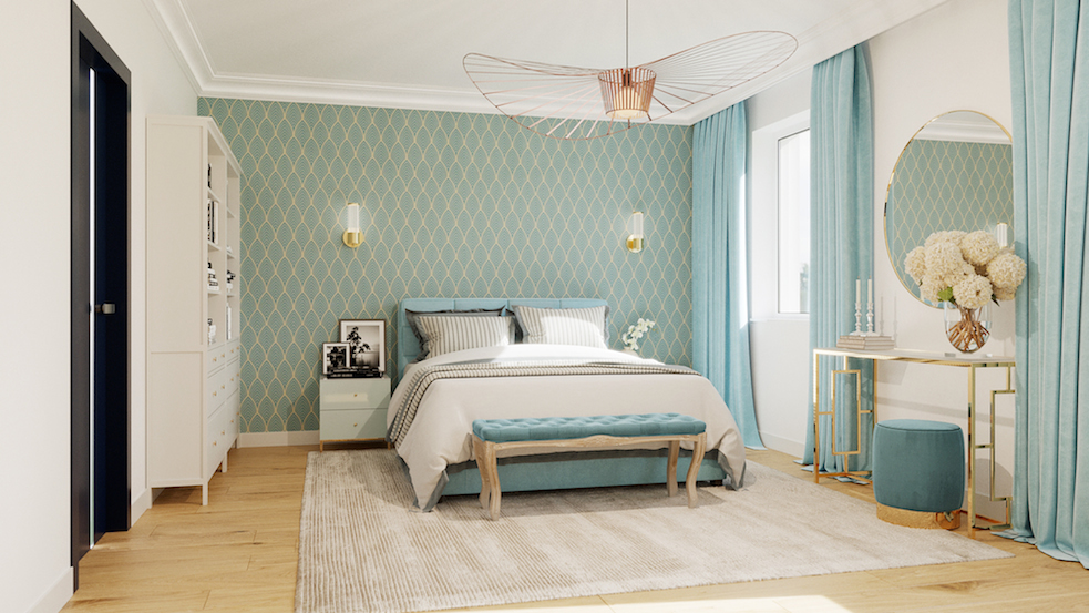 sypialnia glamour niebieski