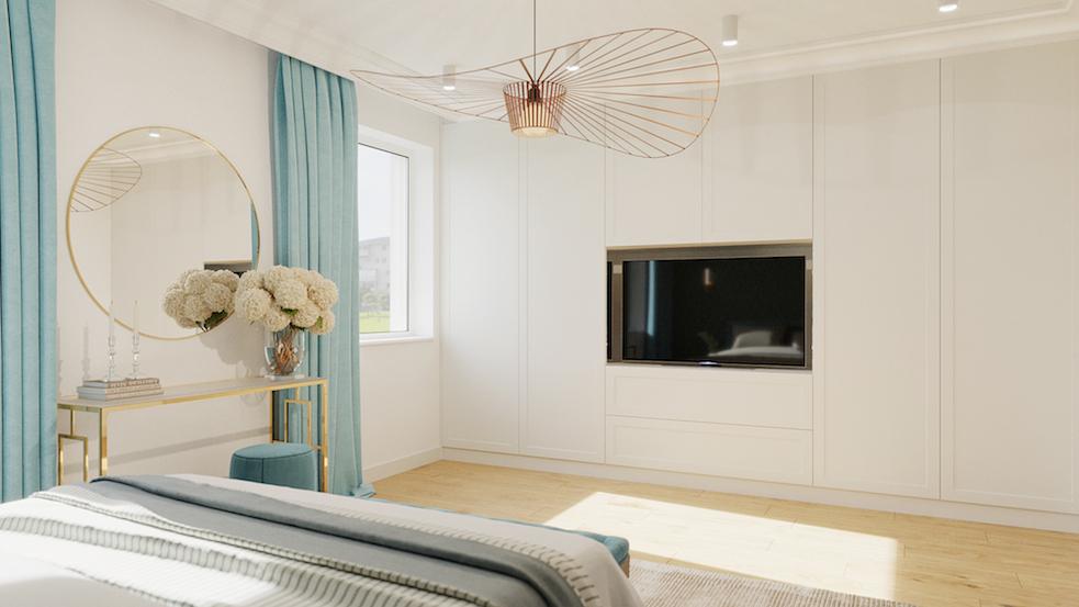 sypialnia glamour złota lampa